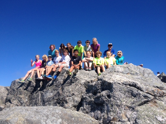 Middle schoolers at the summit of Mount Monadnock!