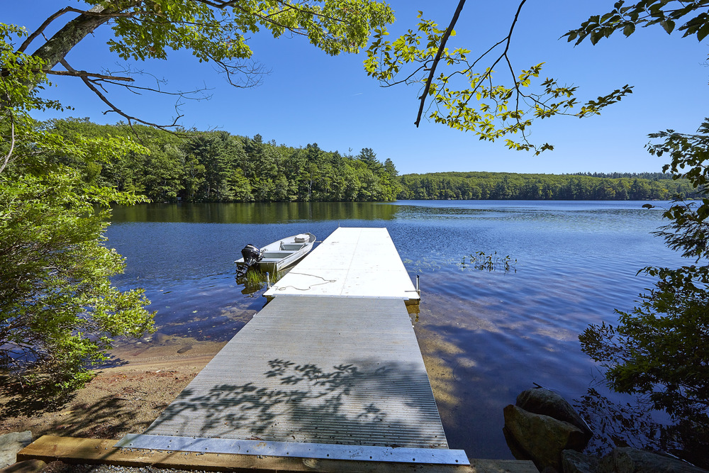 The dock on Thorndike Pond for the soon to be constructed Steele Boathouse.