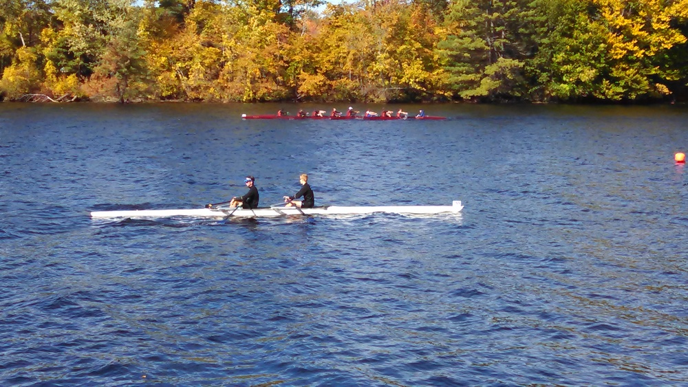Boys' 2x headed towards the start line
