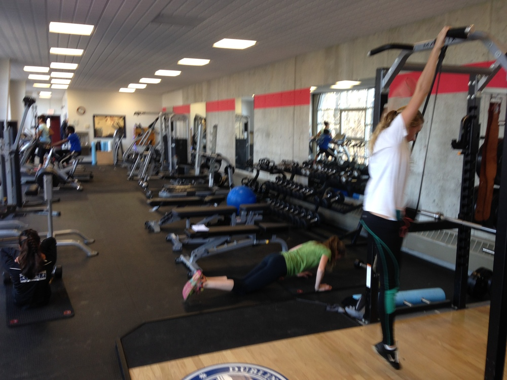 Olivia, Sita and Laura working hard in the Endurance Center!