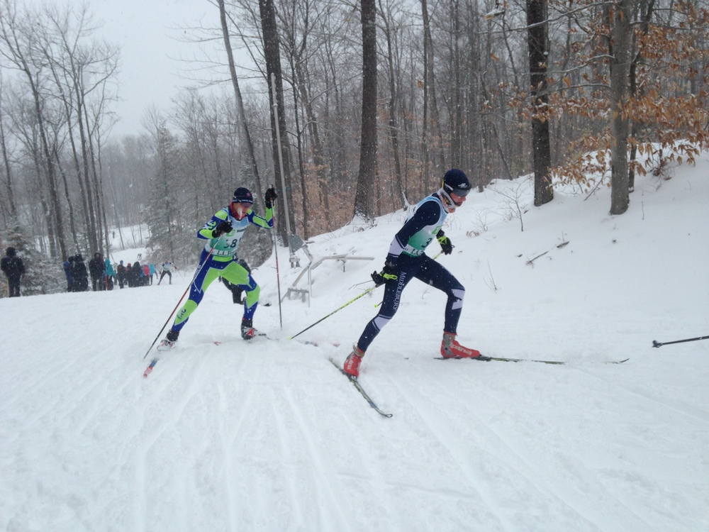Calvin on his way to 6th place in the New England U18 category.