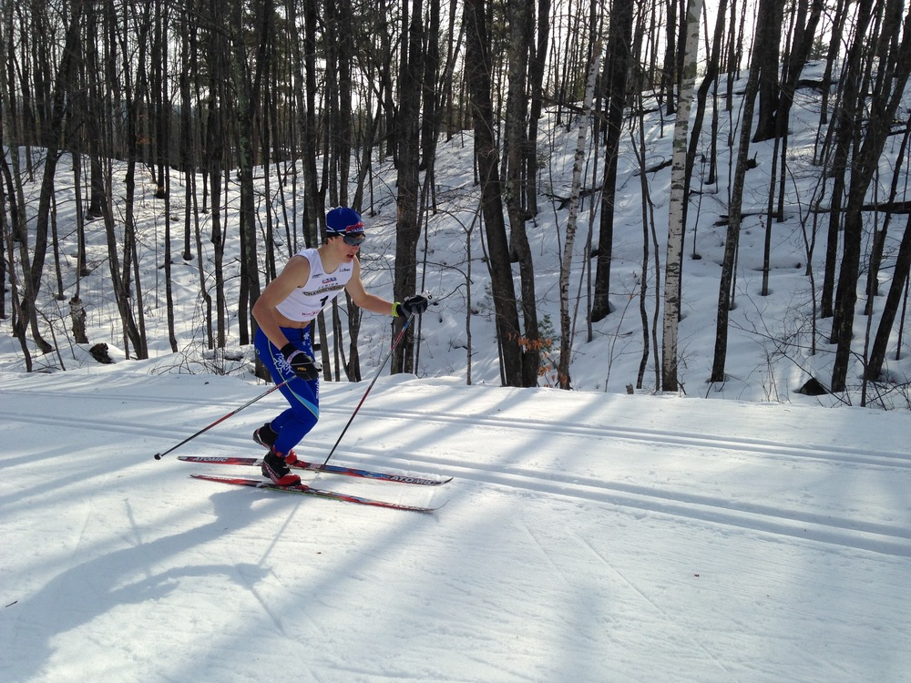 Calvin struggling in the heat during the 10km classic.