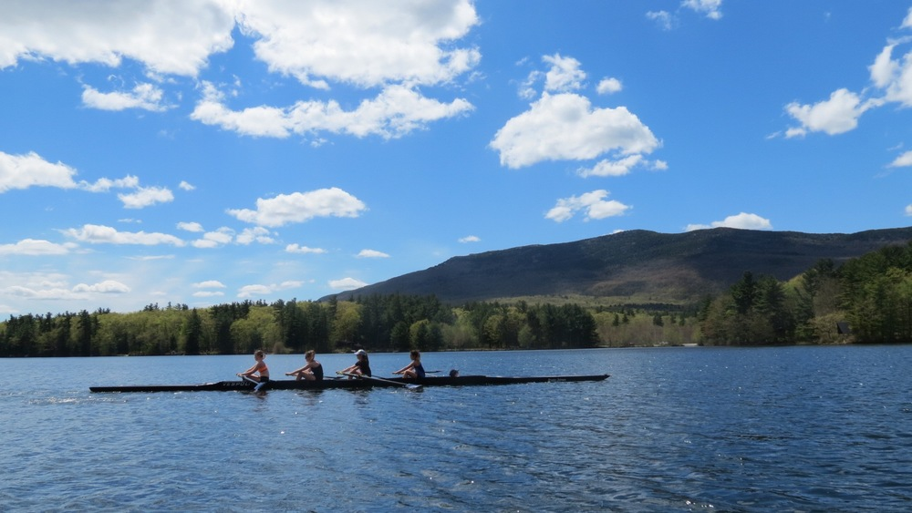 It was a stunning spring day on Thorndike Pond. Girls novices out for a row before the racing.