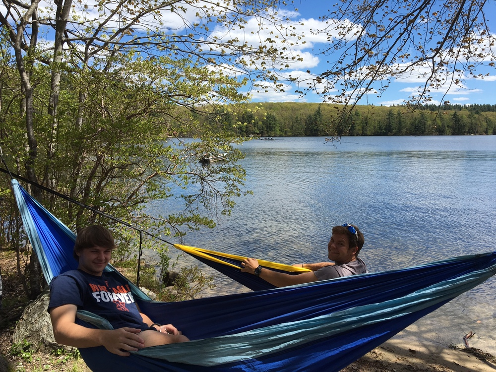 Warren and Chris relaxing after a short bike ride to Thorndike Pond before practice.
