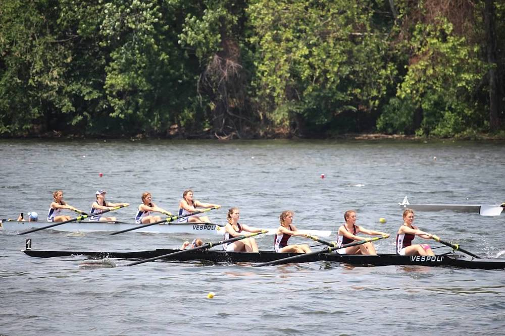 Lilly Bates (2 seat) and Viivi Salmi (stroke) in a second varsity boat that made the first varsity final and finished fifth at Nationals!
