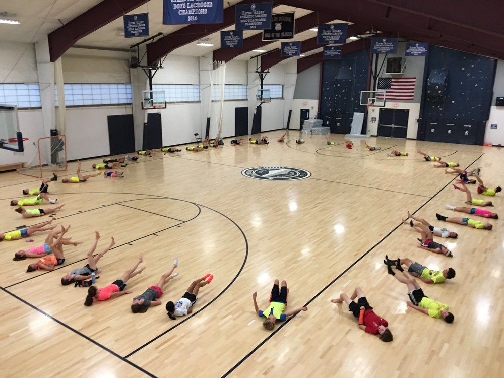Core work in the Whitney Gymnasium.