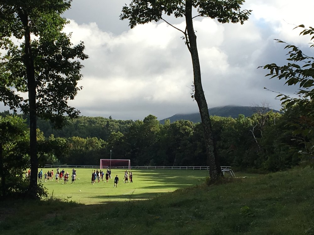 The soccer players with Monadnock in the background.
