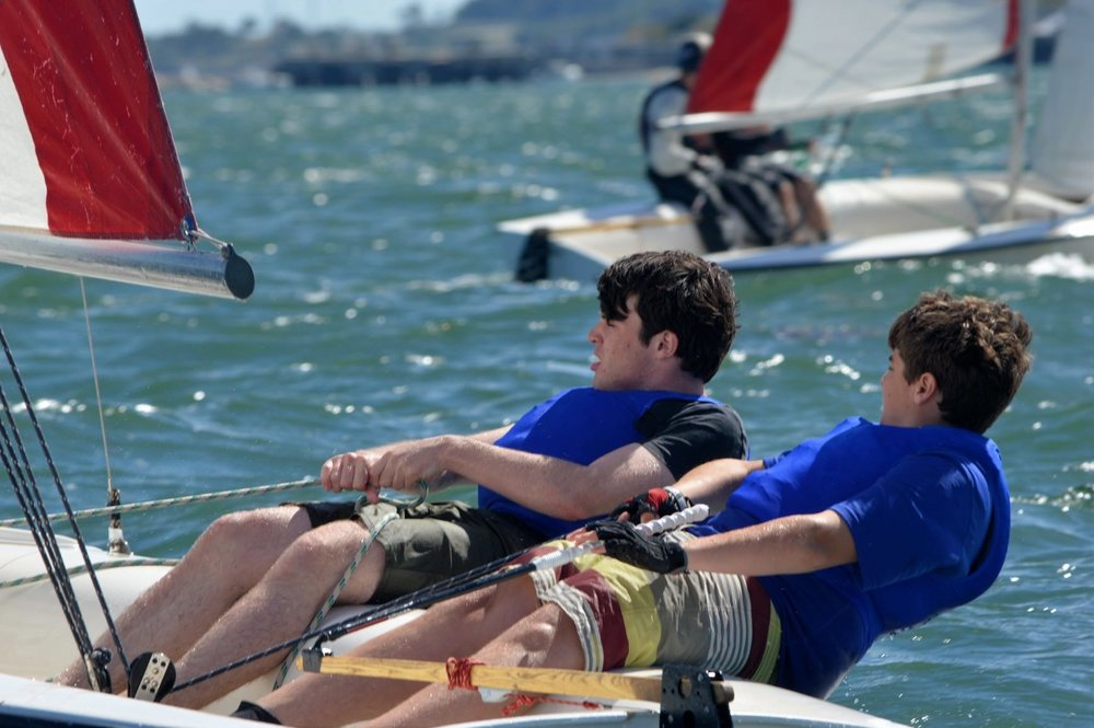 Race course teamwork II: Robbie and Aidan fully-hiked upwind -  boat crew in the back ground are not as fully hiked, and as a result they are not moving as fast as Aidan and Robbie.