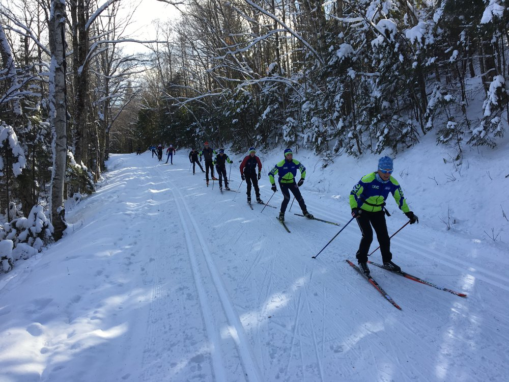 Some of the more experienced skiers training with Coach Maddock on Tripoli Road.
