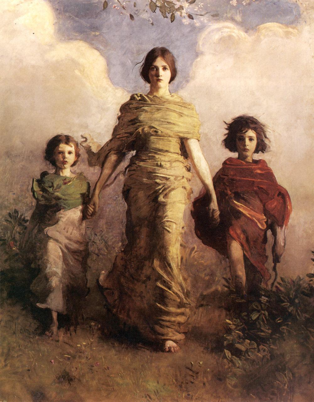 """""""A Virgin"""" by Abbott Thayer - Portrait of his children."""