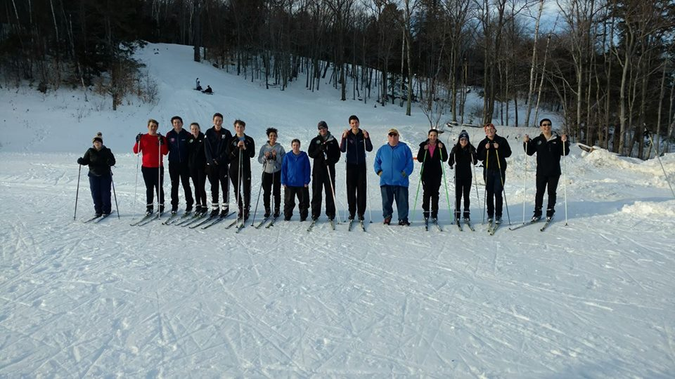 Dublin School skiers with Special Olympic skiers.