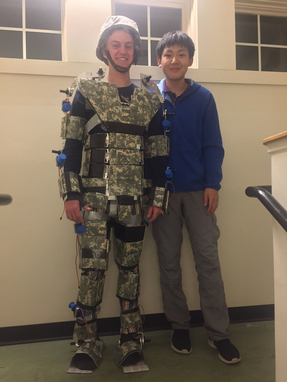 Jack Pearce modeling suit for inventor Nemo Chen
