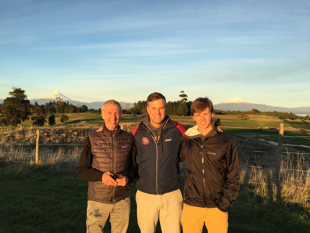 The Team: Charlie, Brad, Calvin. Volcan Osorno in the background.