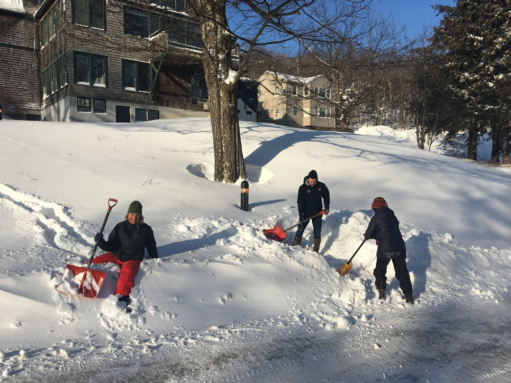 Faculty and staff helping to dig out...