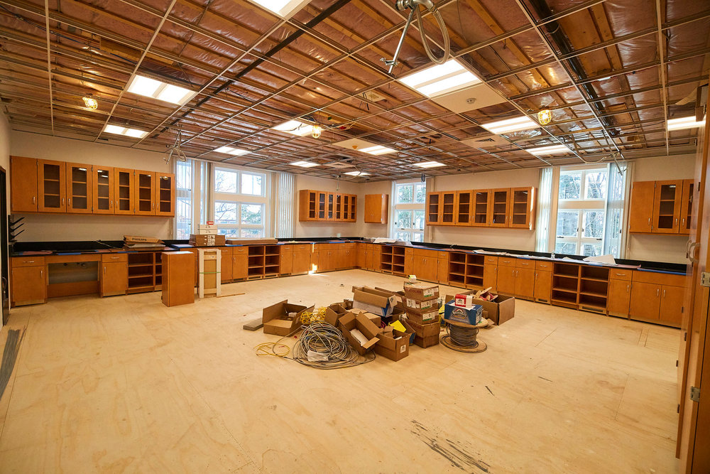 Biology laboratory being outfitted. Awaiting ceiling tiles and flooring.