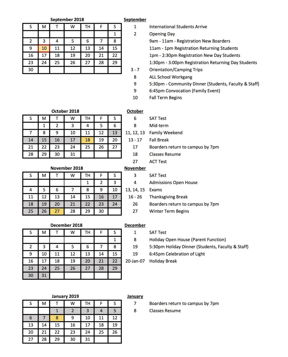 Calendar At A Glance 2018 2019 Dublin School