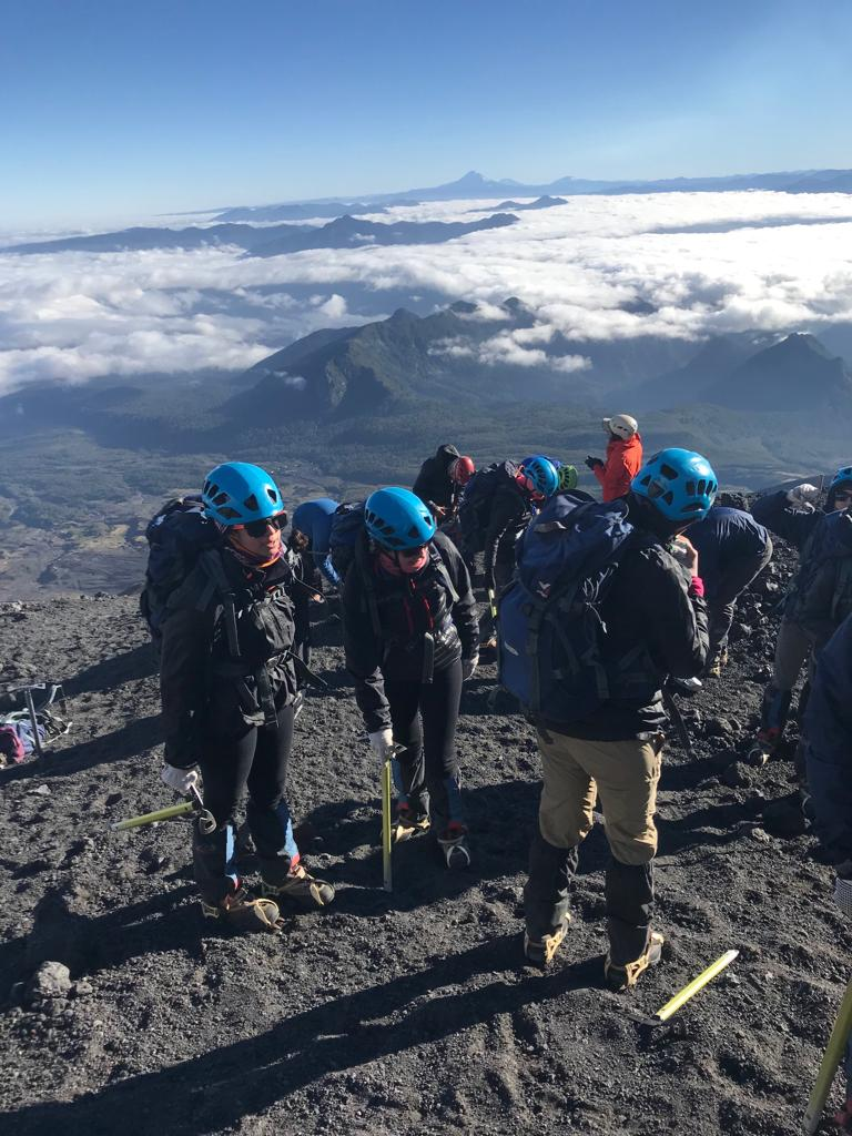 Our students on an active volcano in the Chilean Andes.