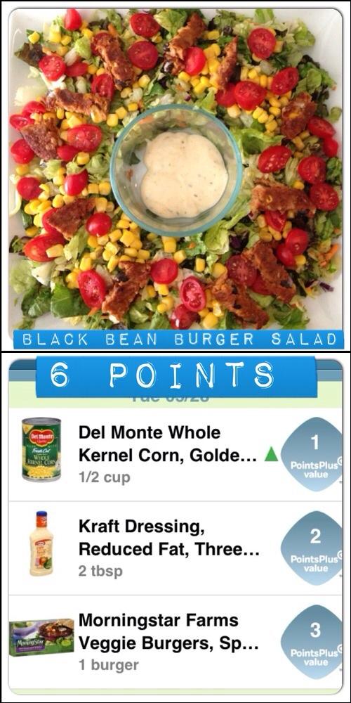 Black Bean Burger Salad 6 points
