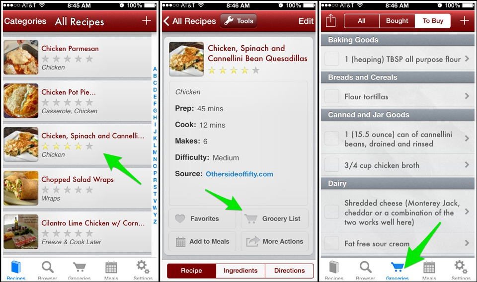 You can select your recipe, click on grocery list and the items you will need to buy. You can check off these items from your phone as you buy them.