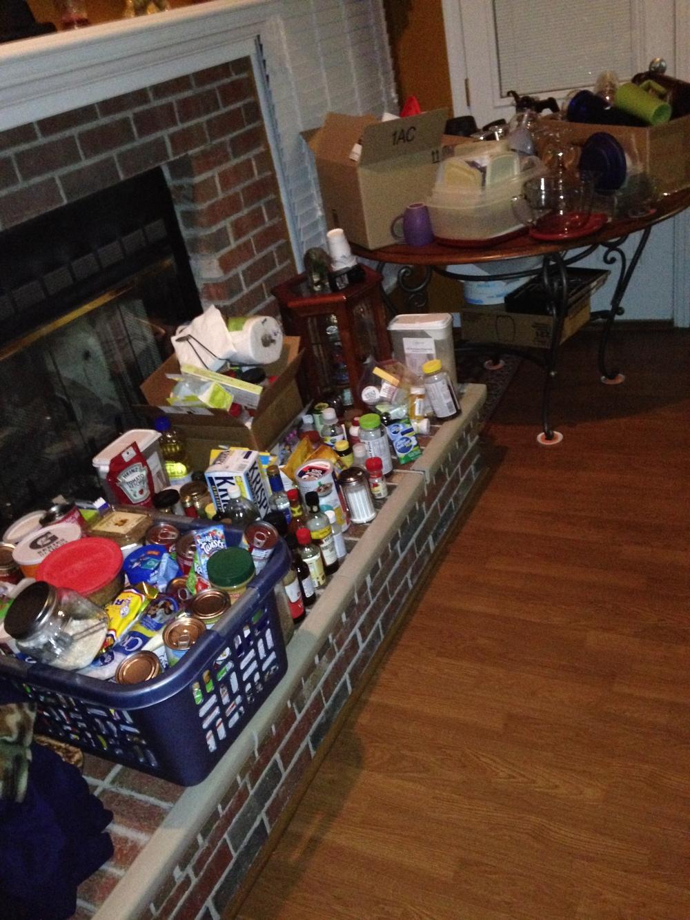 Kitchen cabinet stuff was everywhere.