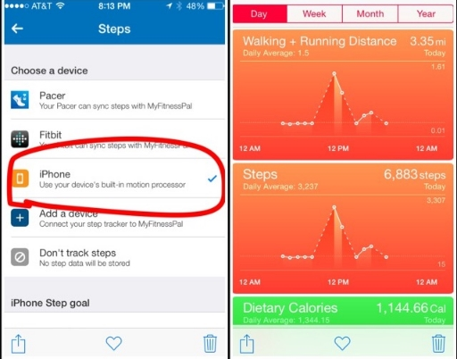 Left (screenshot from MFP Settings/Steps) Right (screenshot from iPhone Health App dashboard)