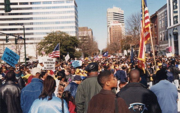 Peaceful rally on Martin Luther King Jr. Day to remove the confederate flag from the State House grounds in Columbia SC  January 17, 2000
