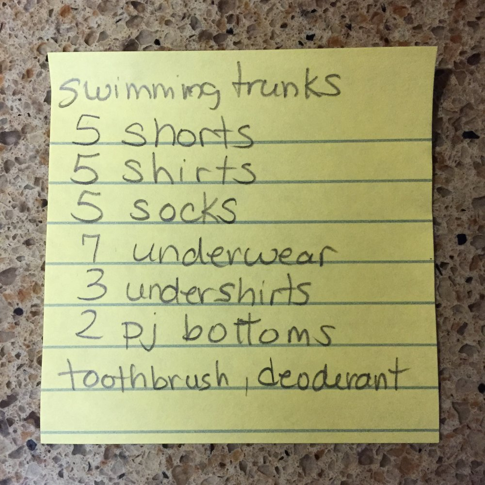 Packing is so easy when you can give your kid a list for their stuff.