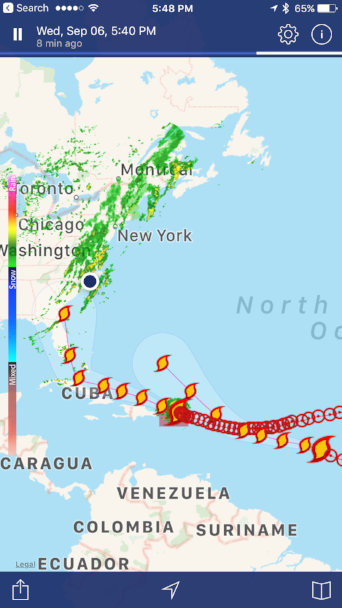 THE BIG PICTURE IS VERY UGLY - I've got THIS app on my phone called NOAA Radar Pro, where I can track hurricanes way before they become a threat.We live where the blue dot is.