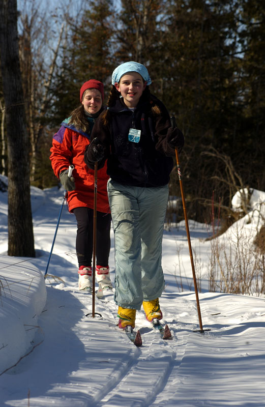 Skiing on the trail