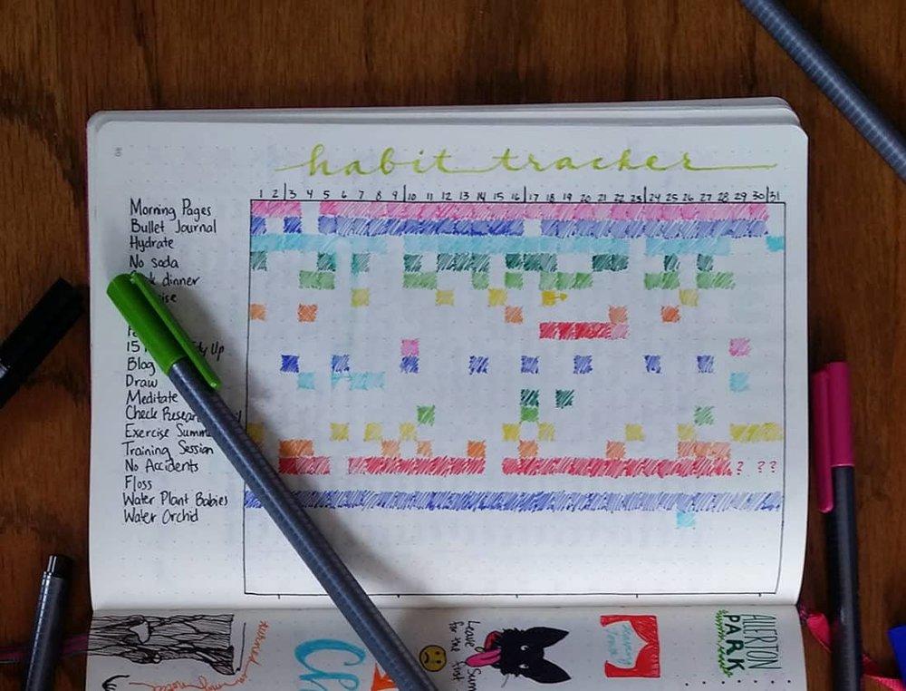 A sample habit tracker