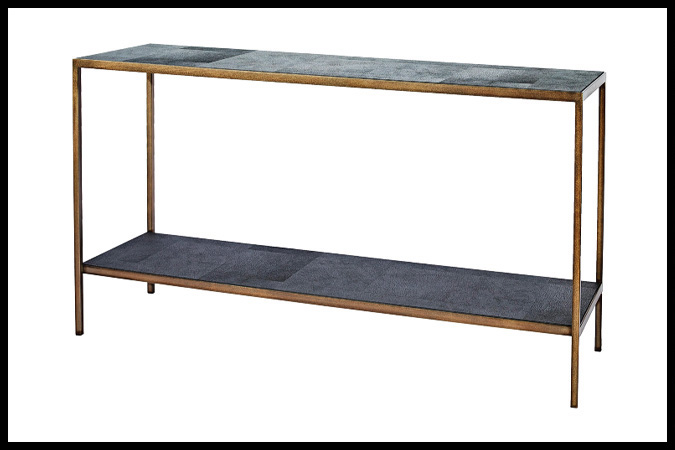 "Console Table Size Shown: 16"" x 56"" x 32""H Burnished Iron with Gold Finish and Black Panther Inset"