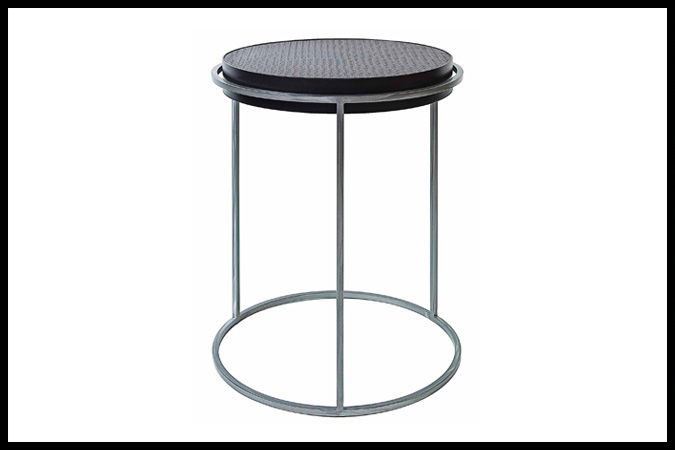 "Party Table Size Shown: 18"" Dia. x 24""H Leather Top, Ebony Metal Sides and Nickel Frame"