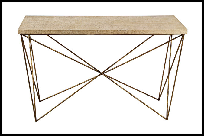 "Console Table Size Shown: 16"" x 54"" x 32""H Ancient Brass with Concha Top"