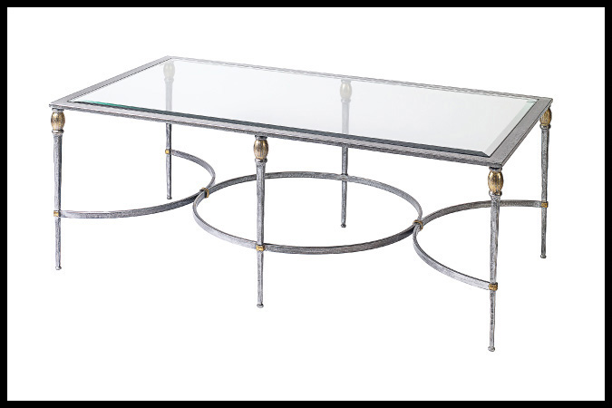 "Cocktail Table Size Shown: 30"" x 54"" x 19""H Rubbed Silver with Gold Accents"