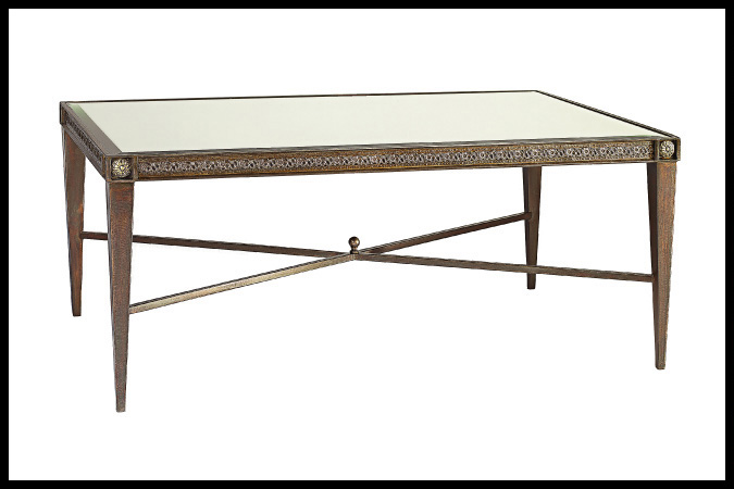"Cocktail Table Size Shown: 30"" x 48"" x 20""H Beveled Mirror Top Dark Burnished Iron with Brass Medallions"