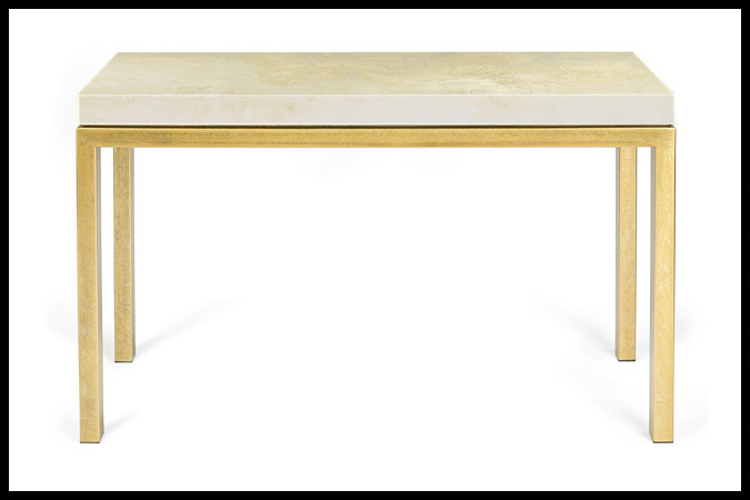 "Console Table Size Shown: 18"" x 58"" x 33""H Ancient Brass with 3"" Concha Top"