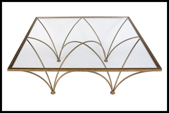 "Cocktail Table Size Shown: 48"" x 48"" x 18""H Ancient Brass Finish"