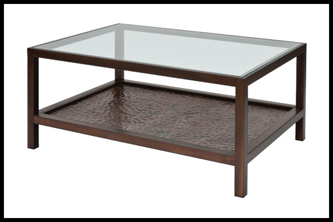 "Cocktail Table Size Shown: 30"" x 42"" x 18""H Burnished Iron Finish"