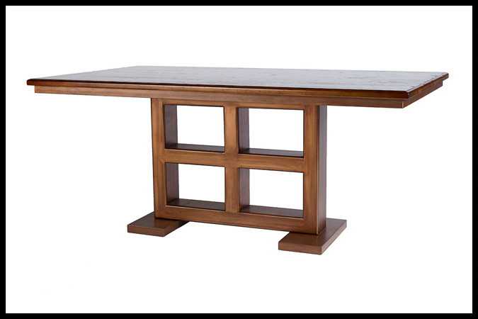 "Dining Table Base Size Shown: 18"" x 34"" x 29"" H Wood Top, Size Shown: 40"" x 72"" Copper with Ebony Glaze Finish. Worn Maple Wood Top"