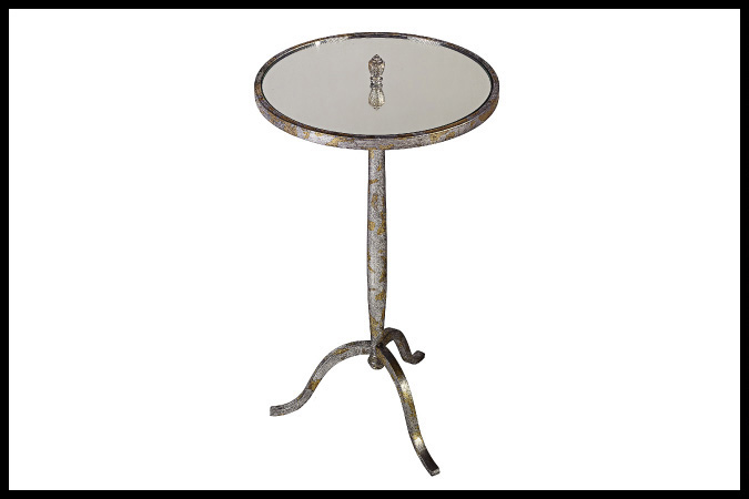 "Party Table Size Shown: 14"" Dia. x 25""H Mirror Top Silver and Gold Leaf Finish"