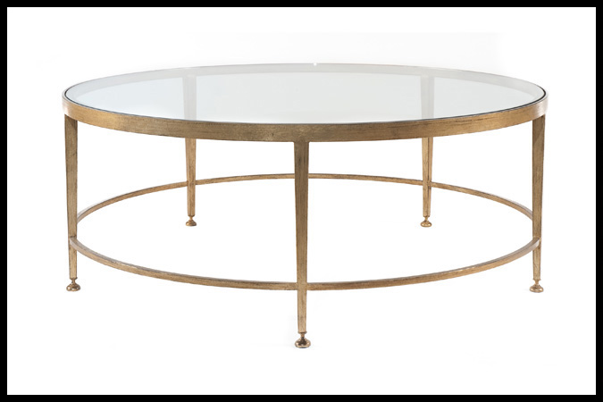 "Cocktail Table Size Shown: 42"" Dia. x 16""H Worn Gold Leaf Finish"
