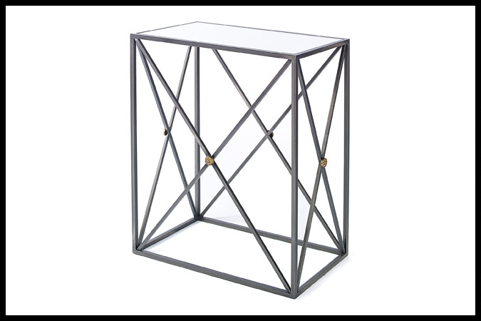 "End Table Size Shown: 12"" x 22"" x 26""H Dark Pewter with Gold Medallions with Mirror Top"