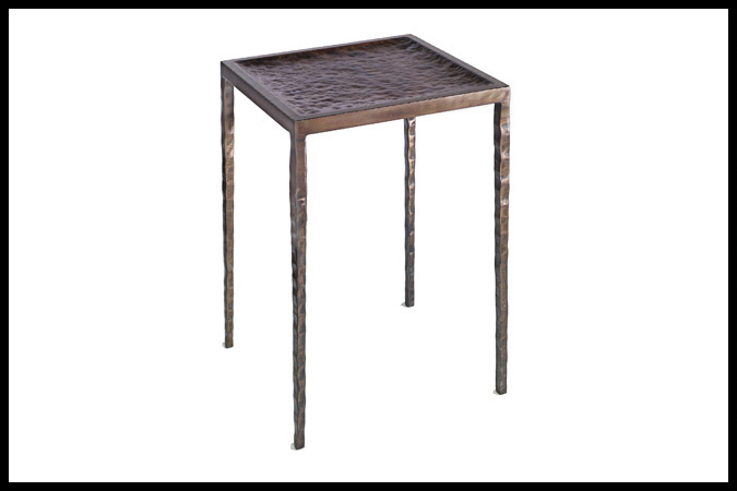 "Drink Table Size Shown: 15"" x 15"" x 23""H Hammered Steel Top Burnished Iron with Gold Rub"