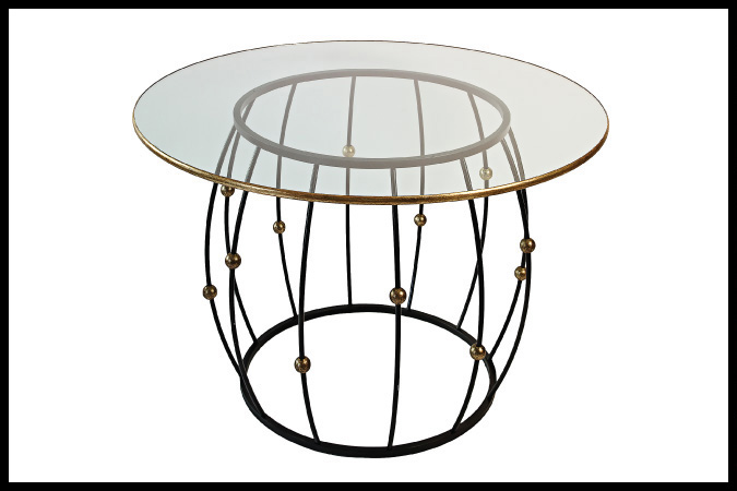 "Dining-Focal Base Base Size Shown: 28"" Dia. x 29""H. 48"" Dia. Glass Top with Worn Gold Leaf Trim Ebony with Worn Gold Leaf Balls Designed by Barry Johnson"
