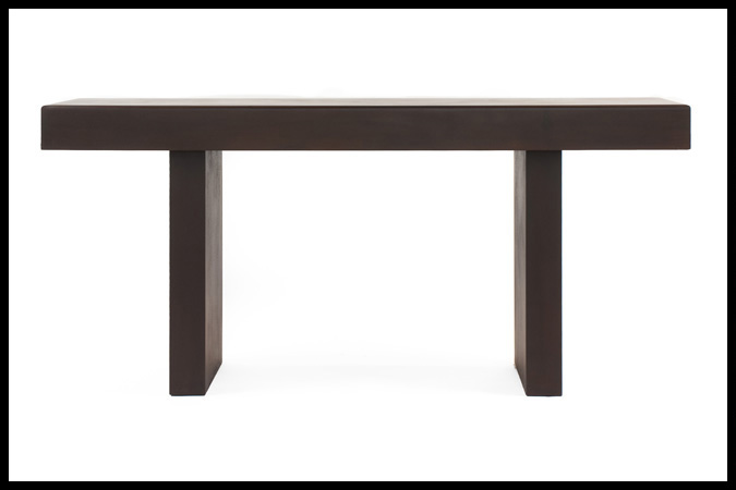 "Console Table Size Shown: 16"" x 72"" x 34""H Rust Finish"