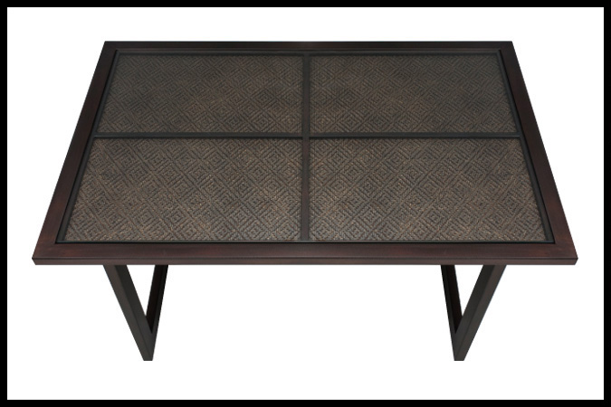 "Cocktail Table Size Shown: 28"" x 42"" x 18""H Burnished Iron Finish with Mica Diamond Inset"