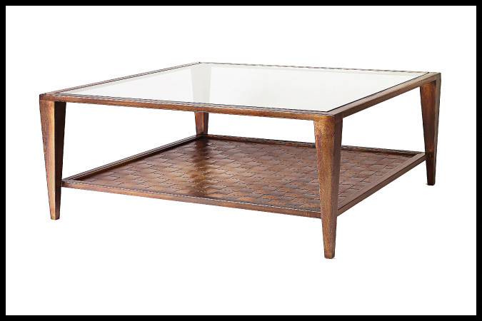 "Cocktail Table Size Shown: 42"" x 42"" x 20""H Burnished Iron Finish"