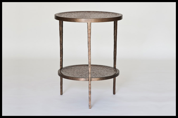 "End Table Size Shown: 18"" Dia. x 23""H Burnished Iron Finish"