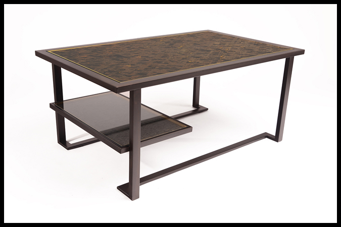 "Cocktail Table Size: 46"" x 28"" x 20""H Enchanted Cork Top Dark Burnished Iron Finish"