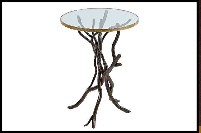 "Party Table Size Shown: 18"" x 24""H Etched Bronze Finish with Worn Gold Leaf Trim on Glass"